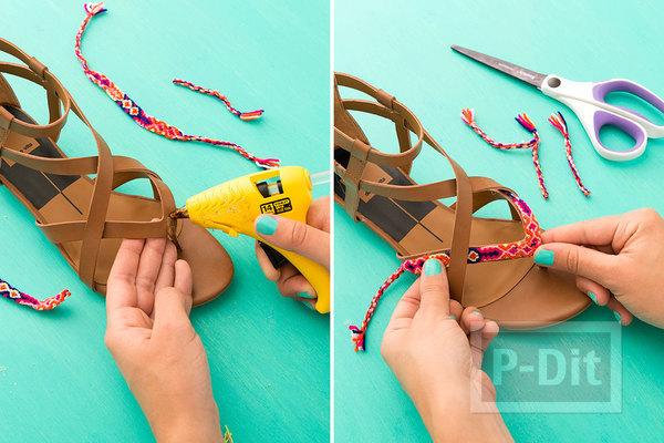 รูป 3 รองเท้ารัดส้น ประดับสายรองเท้า จากสร้อยแขน ปอมๆสีสด