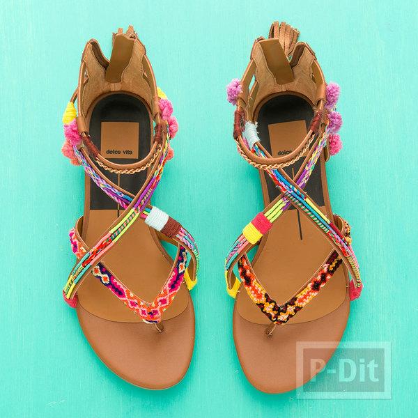 รูป 7 รองเท้ารัดส้น ประดับสายรองเท้า จากสร้อยแขน ปอมๆสีสด