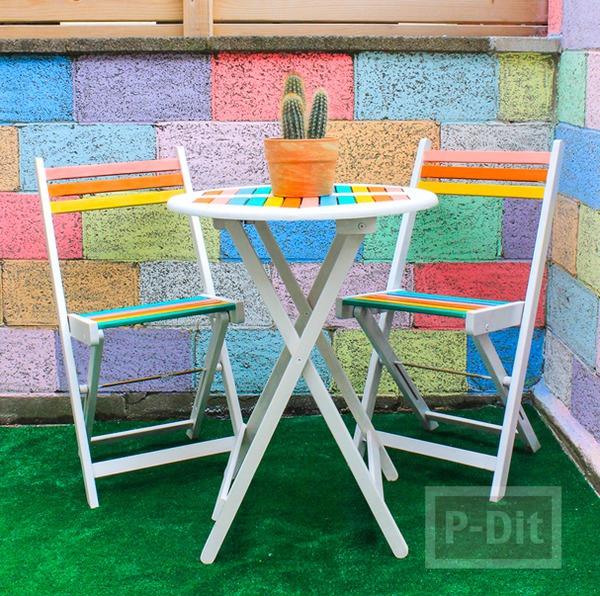 โต๊ะหลังบ้าน ระบายสีลูกกวาด น่านั่ง
