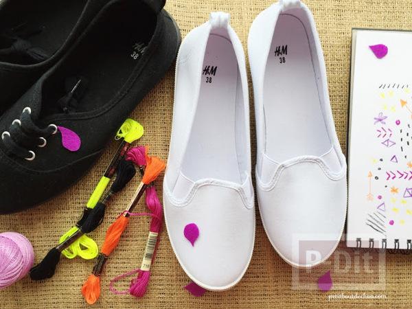 รูป 3 ตกแต่งรองเท้าผ้าสีขาว ปักลายสวย
