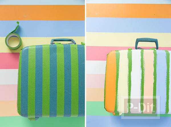 รูป 3 กระเป๋าเดินทางใบเก่า ทาสีใหม่ สดใส น่าใช้
