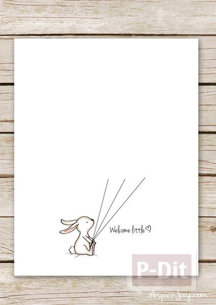 รูป 3 การ์ดกระต่ายน่ารัก ถือลูกโป่ง