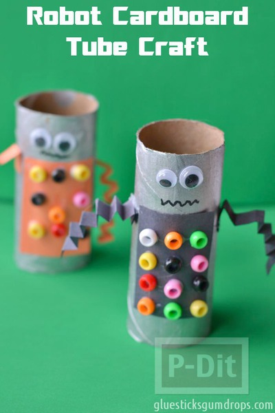 รูป 6 ทำหุ่นยนต์ (Robot) จากแกนกระดาษทิชชู