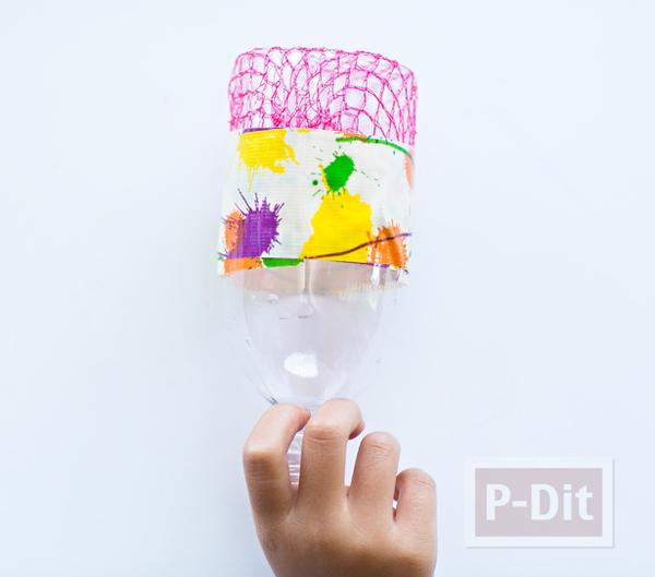 รูป 3 ของเล่นเด็ก เป่าฟองสบู่ จากขวดพลาสติกหุ้มตาข่าย