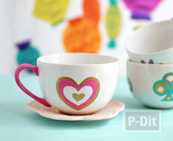 รูป 3 แก้วน้ำลายสวย แกะลายน่ารักๆ ระบายสีจากพู่กัน