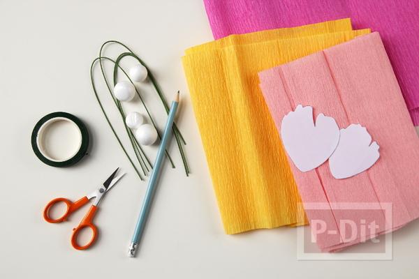 รูป 2 ดอกไม้กระดาษย่น ทำเองสวยๆ สีสดใส (ดอกโบตัน)