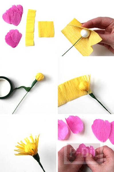 รูป 3 ดอกไม้กระดาษย่น ทำเองสวยๆ สีสดใส (ดอกโบตัน)