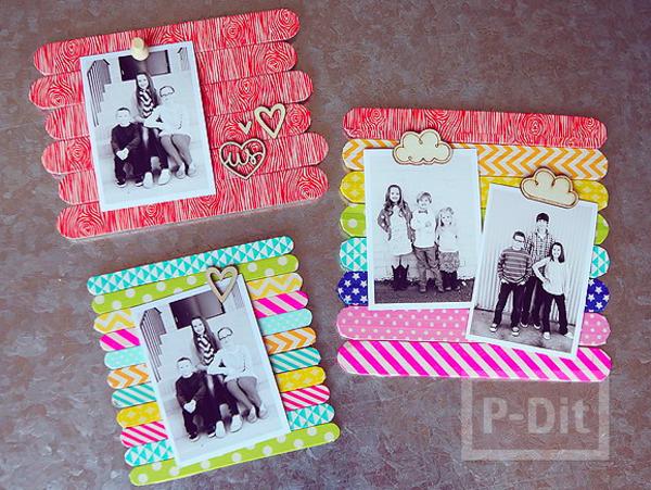 รูป 4 ทำกรอบรูป จากไม้ไอติม สีสด ระบายสี