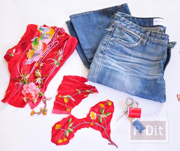 รูป 2 กางเกงยีนส์ ปักลายดอกไม้ จากเสื้อเก่าๆ
