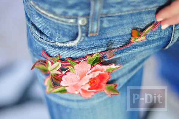 รูป 5 กางเกงยีนส์ ปักลายดอกไม้ จากเสื้อเก่าๆ