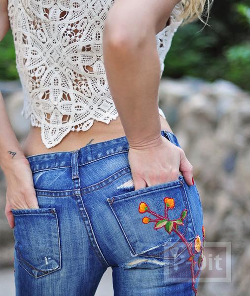 รูป 7 กางเกงยีนส์ ปักลายดอกไม้ จากเสื้อเก่าๆ