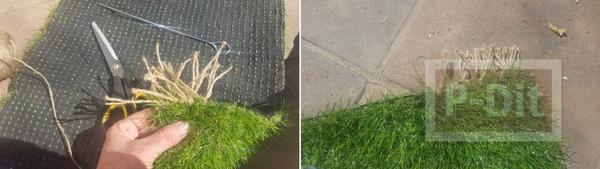 รูป 3 พรมเช็ดเท้าทำจากหญ้าปลอม ตกแต่งขอบด้านข้างด้วยเชือก