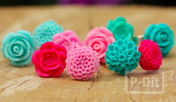 รูป 7 แหวนดอกกุหลาบ ทำจากดอกไม้พลาสติก