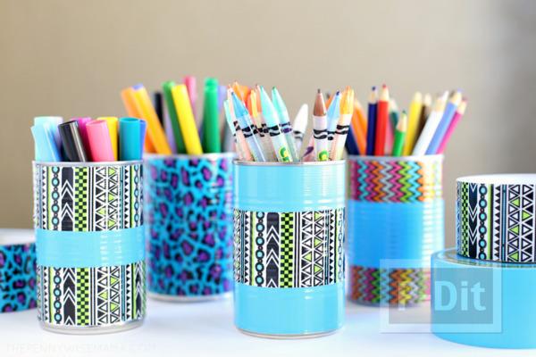ประดิษฐ์กระป๋องใส่ดินสอ จากสก็อตเทปสีสด