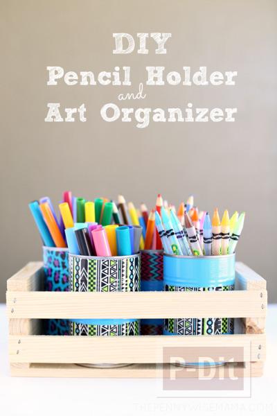 รูป 2 ประดิษฐ์กระป๋องใส่ดินสอ จากสก็อตเทปสีสด