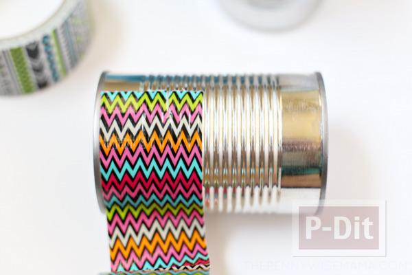 รูป 4 ประดิษฐ์กระป๋องใส่ดินสอ จากสก็อตเทปสีสด