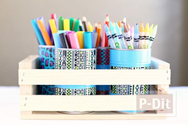 รูป 5 ประดิษฐ์กระป๋องใส่ดินสอ จากสก็อตเทปสีสด