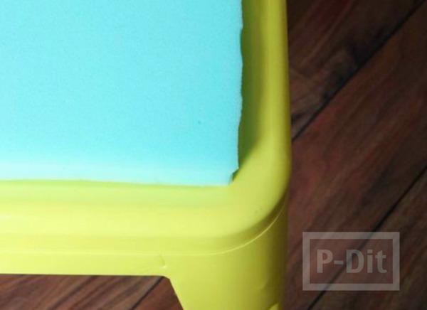 รูป 3 เบาะรองเก้าอี้ ทำจากฟองน้ำ หุ้มผ้า ลายสวย