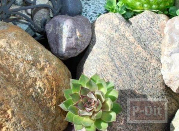 รูป 5 ก้อนหินติดกาว ประดับขวดซ่อนกุญแจ