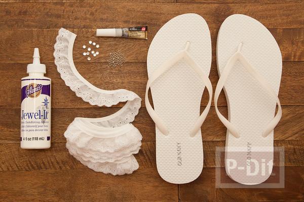 รูป 2 ตกแต่งรองเท้าแตะแบบคีบ ด้วยผ้าลูกไม้