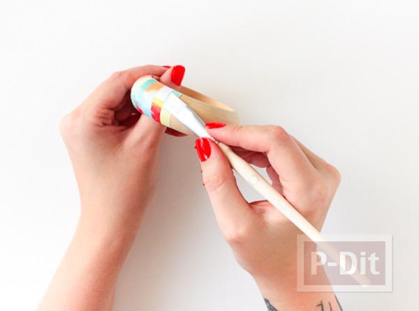 รูป 3 กำไลข้อมือแบบไม้ ตกแต่งติดกระดาษ ลายสวย