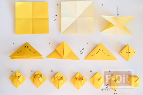 รูป 2 สอนพับกระดาษ เป็นกล่อง กลวงๆ ประดับโมบาย