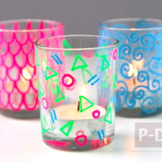 แก้วใส่เทียน วาดลายสวยๆ ด้วยสีเมจิก