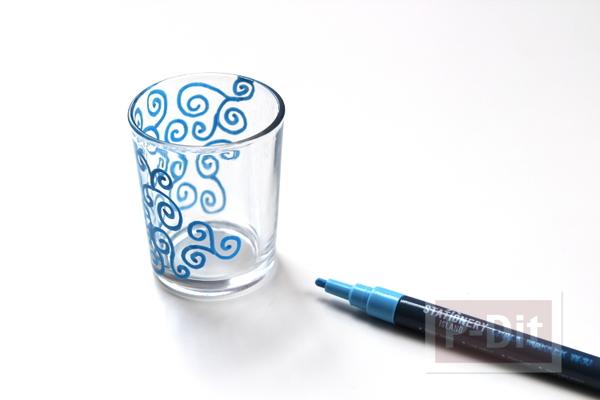 รูป 2 แก้วใส่เทียน วาดลายสวยๆ ด้วยสีเมจิก