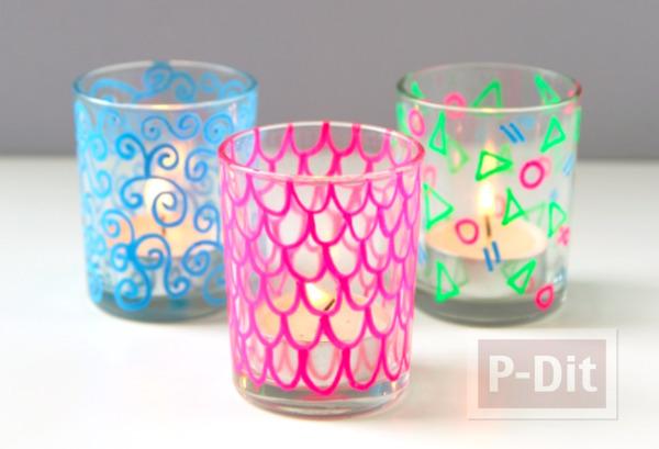 รูป 4 แก้วใส่เทียน วาดลายสวยๆ ด้วยสีเมจิก
