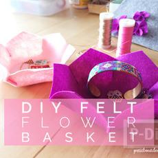 ทำที่ใส่ของ ทรงดอกไม้ จากผ้าสักกะหลาด
