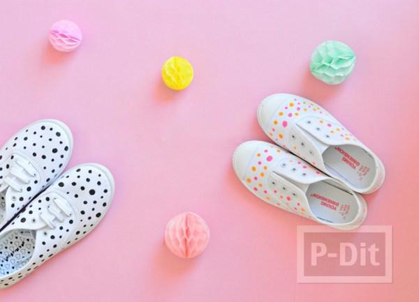 รองเท้าผ้าใบ แต้มจุด น่ารัก สดใส