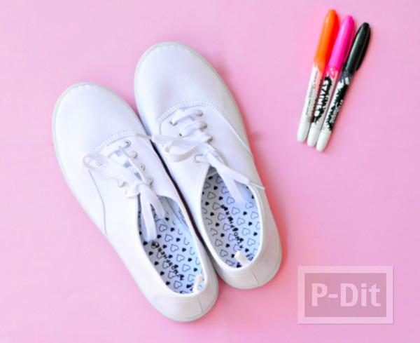 รูป 2 รองเท้าผ้าใบ แต้มจุด น่ารัก สดใส