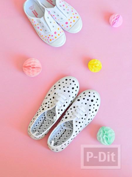 รูป 3 รองเท้าผ้าใบ แต้มจุด น่ารัก สดใส
