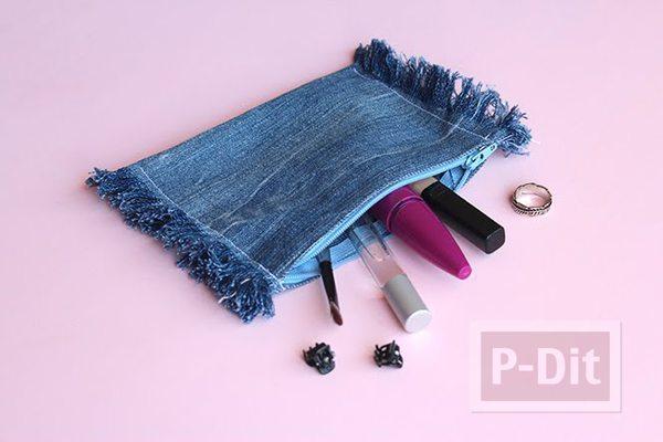 รูป 2 เย็บกระเป๋าใส่เครื่องสำอางค์ จากขากางเกงยีนส์