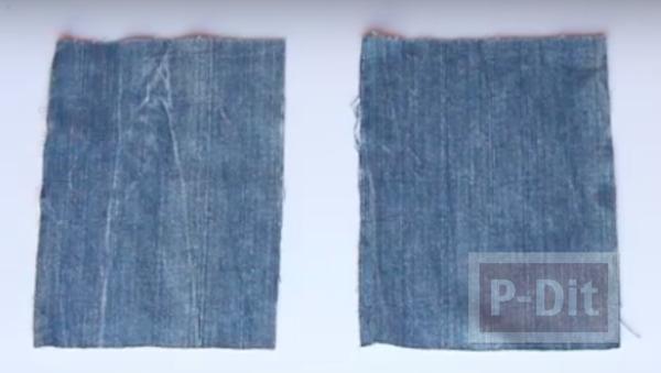 รูป 3 เย็บกระเป๋าใส่เครื่องสำอางค์ จากขากางเกงยีนส์