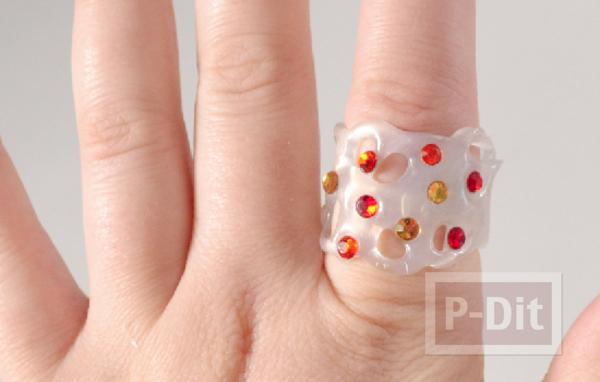 สอนทำแหวนจากกาวร้อน ประดับเม็ดคริสตัล