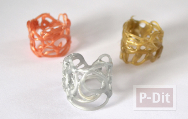 รูป 6 สอนทำแหวนจากกาวร้อน ประดับเม็ดคริสตัล