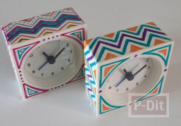 รูป 1 วาดลายนาฬิกาสวยๆ รอบๆนาฬิกาปลุก