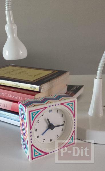 รูป 4 วาดลายนาฬิกาสวยๆ รอบๆนาฬิกาปลุก