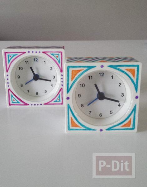 รูป 7 วาดลายนาฬิกาสวยๆ รอบๆนาฬิกาปลุก