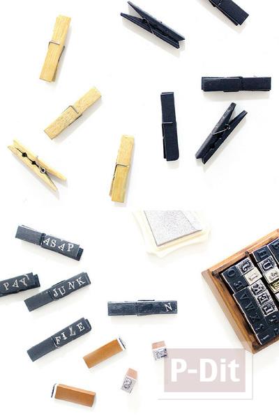 รูป 7 ตกแต่งไม้หนีบผ้าแบบไม้ ทาสี ปั้มตัวอักษรภาษาอังกฤษ
