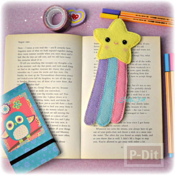 รูป 1 ที่คั่นหนังสือสวยๆ ลายดาว สีสวย