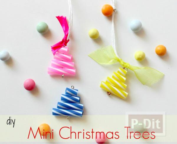 พวงกุญแจต้นคริสต์มาส หลอดสีสด ทำเองแบบง่ายๆ