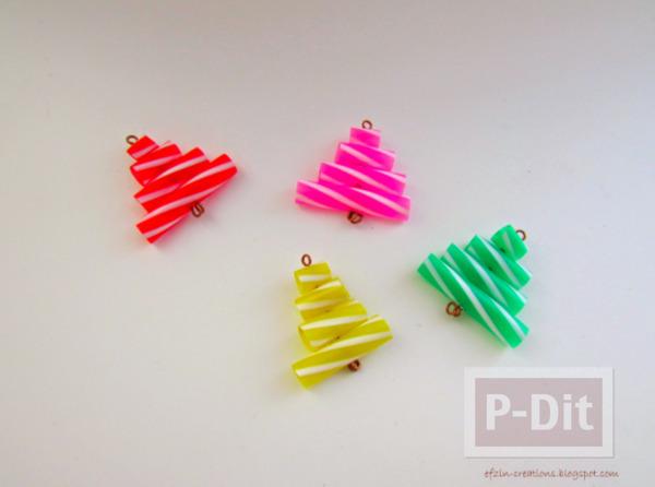 รูป 7 พวงกุญแจต้นคริสต์มาส หลอดสีสด ทำเองแบบง่ายๆ