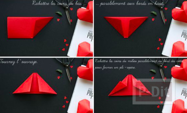 รูป 3 พับกระดาษรูปหัวใจ ดวงใหญ่ๆ