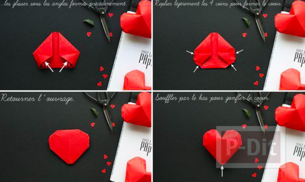 รูป 5 พับกระดาษรูปหัวใจ ดวงใหญ่ๆ