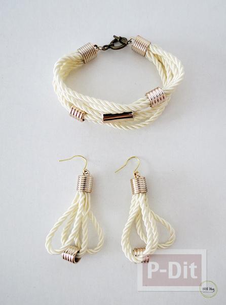 รูป 1 สร้อยข้อมือ ต่างหู ทำจากเชือก ประดับเม็ดบีท(beads)