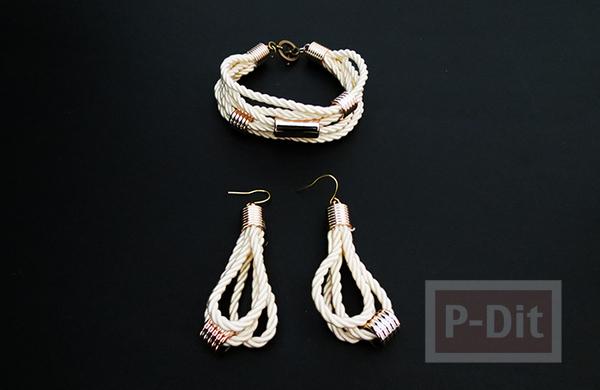 รูป 2 สร้อยข้อมือ ต่างหู ทำจากเชือก ประดับเม็ดบีท(beads)