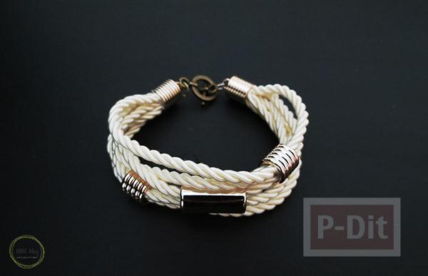 รูป 3 สร้อยข้อมือ ต่างหู ทำจากเชือก ประดับเม็ดบีท(beads)