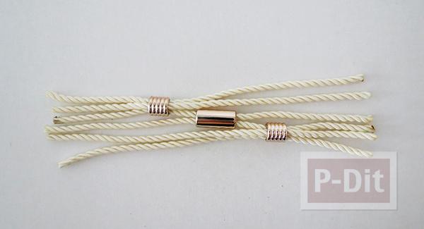 รูป 6 สร้อยข้อมือ ต่างหู ทำจากเชือก ประดับเม็ดบีท(beads)